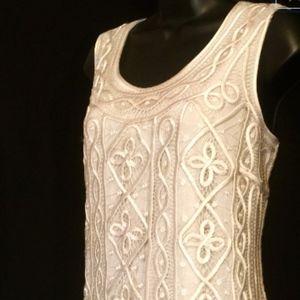 Dresses & Skirts - 90s Ivory Ribbon Crochet and Chiffon Gown  VS167